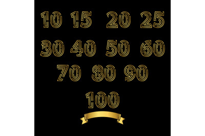 gold number simple vector illustration