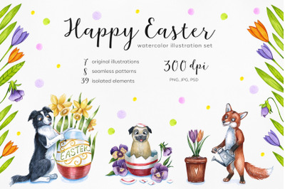 Happy Easter set. Watercolor illustrations. Spring