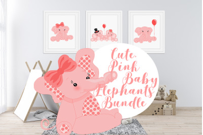 Cute, Pink Baby Elephants Bundle