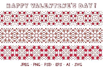 3 seamless hand drawn Valentines's borders