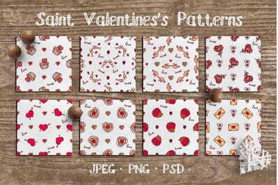 8 hand drawn seamless Valentine patterns