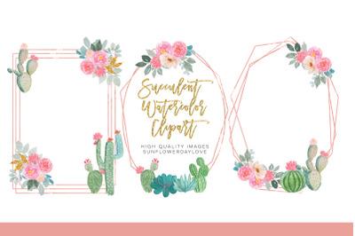 Succulent Watercolor Clipart Cactus Flower Clipart