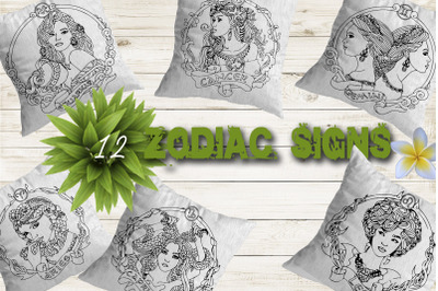 Zodiac signs. 12 hand drawn clipart