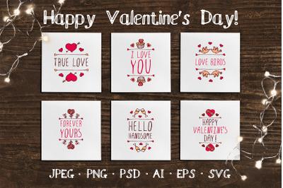 6 hand drawn Valentine cards