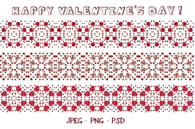 3 seamless hand drawn Valentine borders