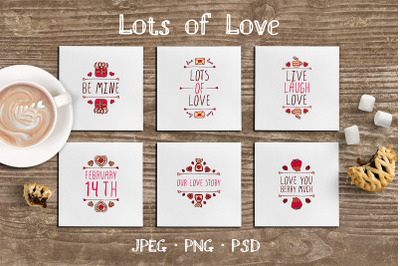 6 hand sketched Valentines's badges with text