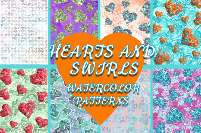 Hearts and Swirls Watercolor Patterns