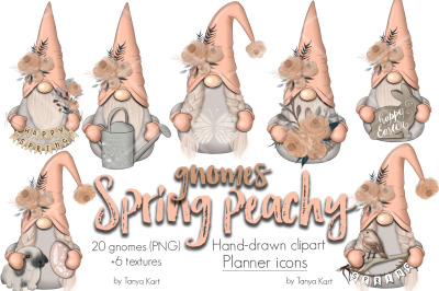 Spring Peachy Gnomes Planner Icons