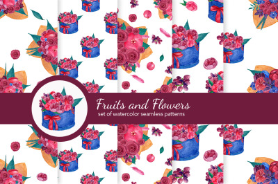 Flowers and fruits bouqets. Set of seamless patterns