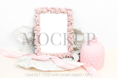 Mockup photo with pink vase and ribbon