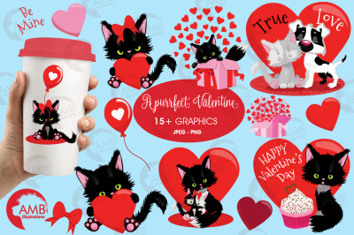 Valentine Cat's Clipart Pack AMB-2709
