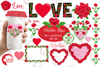 Valentine Red roses Clipart Embellishments AMB-2711