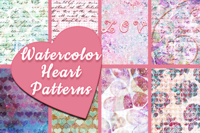 Watercolor Hearts Patterns
