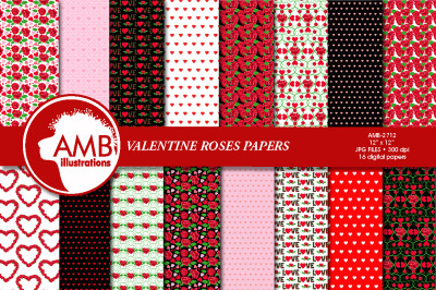 Valentine Red Roses  Patterns, AMB-2712