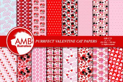 Valentine Cats Pattern, AMB-2710