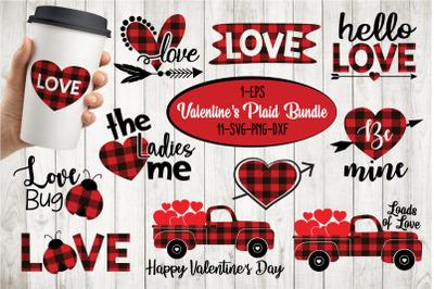 Valentines Quotes Buffalo Plaid Bundle Svg