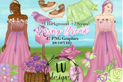 Spring Clipart, Spring Fashion Girl, Floral Garden Graphics