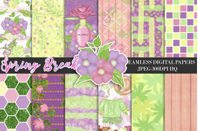 Spring Digital Papers, Floral Patterns, Garden Scrapbook Backgrounds