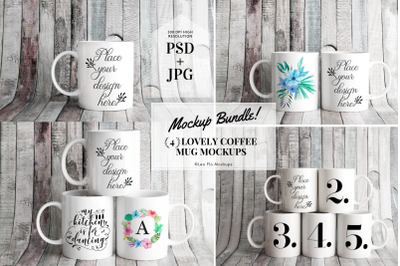 Mug mockup BUNDLE  11oz sublimation PSD Coffee mugs mock up