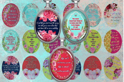 Oval Digital Collage Sheet,Quotes Digital Collage Sheet