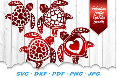 Valentines Sea Turtle Heart Mandala SVG DXF Cut FilesBundle