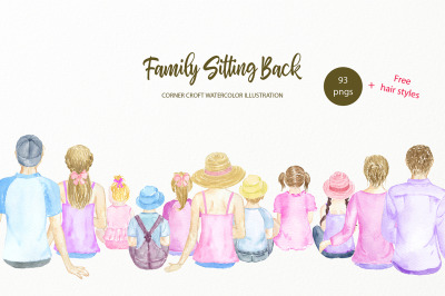 Watercolor Clipart Family Sitting Back