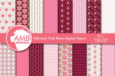 Pink Rose Valentine papers AMB-2717
