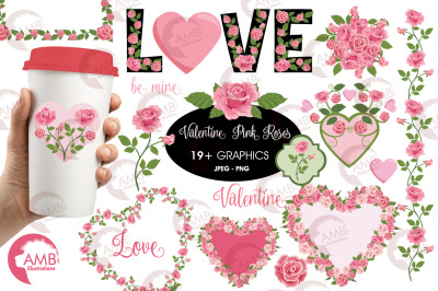 Pink Roses Valentine clipart AMB-2716