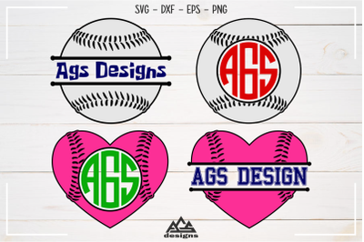 Baseball - Sport Split Monogram Frame Svg Design