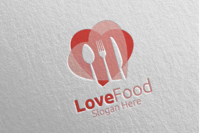 Love Healthy Food Logo Template for Restaurant or Cafe 3