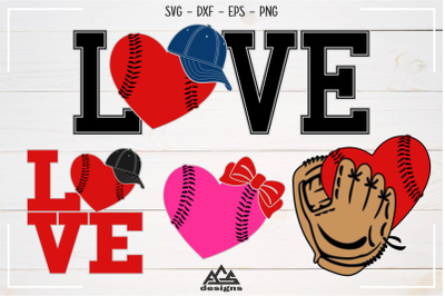 Baseball - Ball Hat Glove Love Sport Svg Design