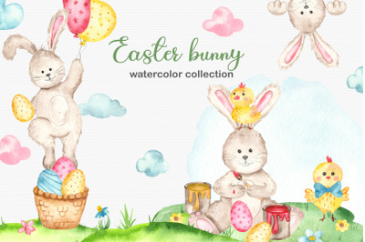 Watercolor Easter Bunny Clipart. Cards and seamless patterns
