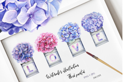 Watercolor Hydrangea Illustration III