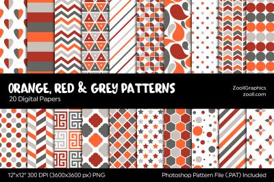 Orange, Red & Grey/Gray Digital Papers