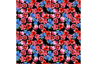 Seamless  flowers pattern on black background.