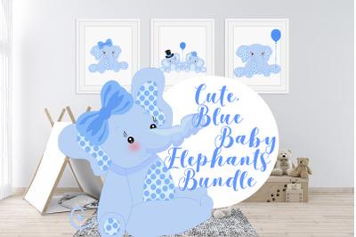Cute, Blue Baby Elephants Bundle
