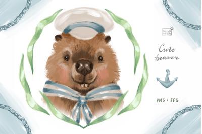 Cute beaver sailor clipart set