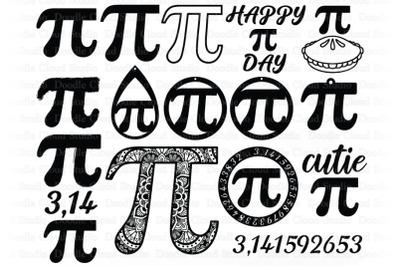 Pi Symbol Mathematics SVG, Happy Pi Day SVG Cut Files,  Earring Pi Day