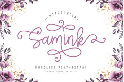 Samink Monoline Font + Extras