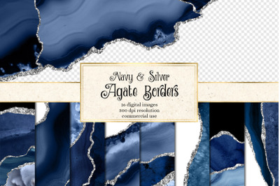 Navy and Silver Agate Borders