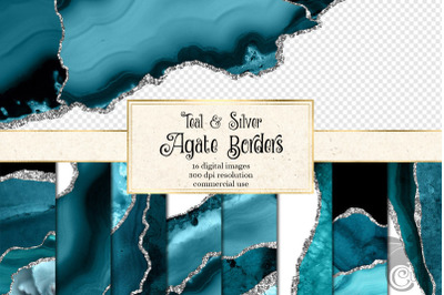 Teal and Silver Agate Borders