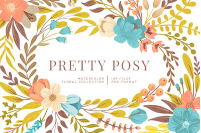 Pretty Posy Watercolor Flower Graphics Kit