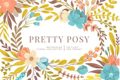 Pretty Posy Watercolor Flower Graphics Kit