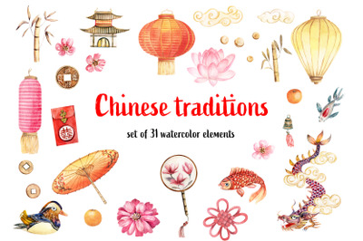 Chinese traditions. Set of watercolor elements and patterns