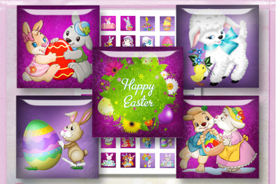 Easter Digital Collage Sheet, Bunnies Cards, Rabbits Cards