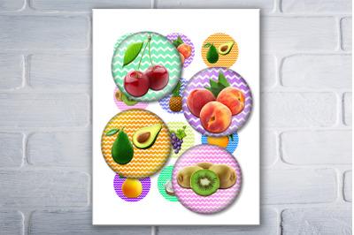 Fruit Digital Collage Sheet,BottleCap,Printable