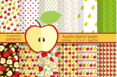 Apple Seamless Pattern Set. Fruit clip art