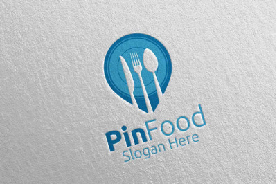 Pin Healthy Food Logo for Restaurant or Cafe 7