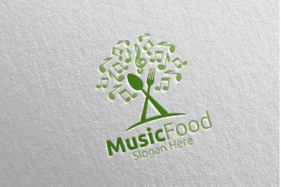 Music Healthy Food Logo for Restaurant or Cafe 9