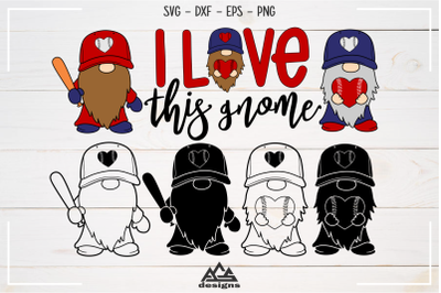 Baseball Love This Gnome Sport Svg Design